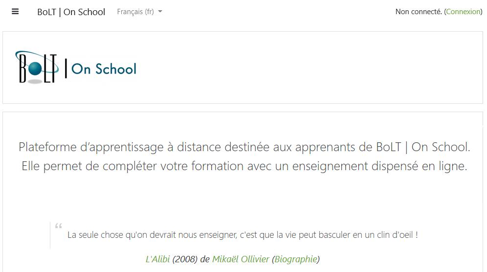 Plateforme d'apprentissage à distance destinée aux apprenants de BoLT | onschool.ch